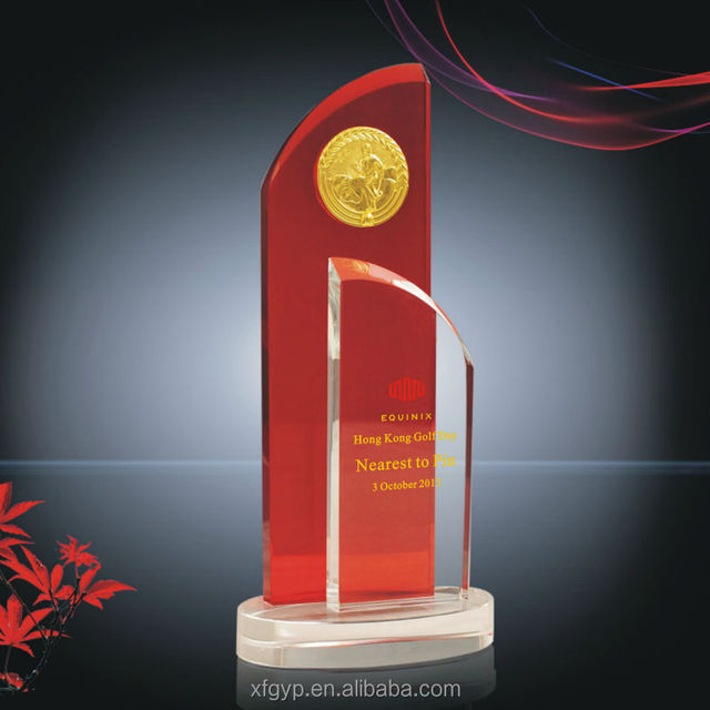 Red/clear Crystal Plaque with Gold Tag insert Trophy