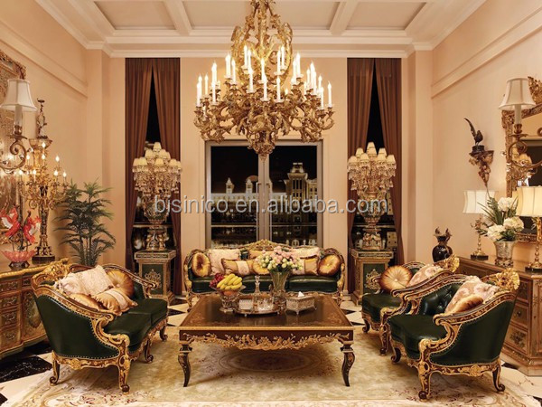 Vintage Wood Carved European Sofa, Hand Painting Wooden Living Room Sofa Set, Button Tufted Chesterfield Genuine Leather Sofa