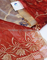 High quality of Embroidery curtain fabric poly 100%