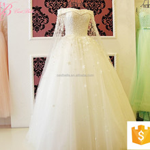 2017 New Style Sexy Crystal Beaded Royal Blue And White Wedding Dress Ball Gown