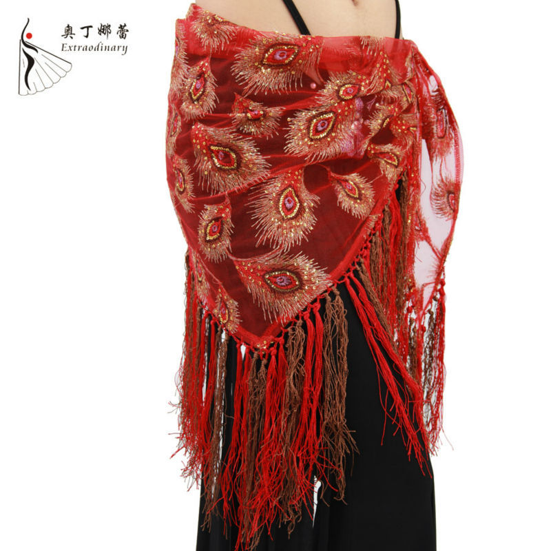 P00637 peacock further design cheap indian wholesale belly dance hip scarves