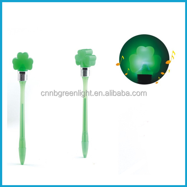 Flashing Shamrock Bump N' Blink Flashing Light Ball Pen