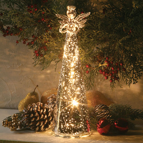 Glowing modern figurine led angel statue with battery operated
