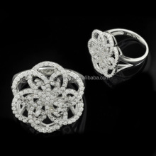 Fashion Jewelry High Quality White Crystal Micro Pave Setting CZ Flower Rings