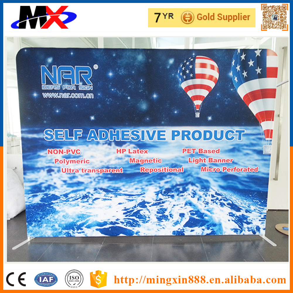 Blue trade show booth well sale spotlight podium case counter exhibition fabric pop up display
