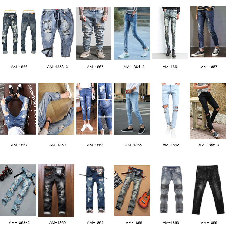 Ripped Stock Washed Jeans Men Skinny Men Denim Pants