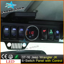 Jeep Wrangler 6-Switch Panel,LED Rocker Switches Panel Control and Source System Relay Box Assemblies,Petrol version Control BOX