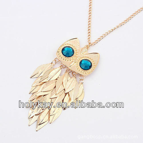 new necklace! lovely dangle blue eye owl decorate necklace
