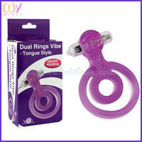 Tongue Style head cock ring and plastic cock ring and cock cage ring Pink/Purple