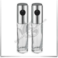 2015 China Supplier 2Pcs Stainless Steel Glass Oil And Vinegar Bottle