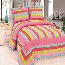 Fancy and popular 100% cotton wholesale grid bed sheet set