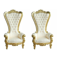 Classic and Royal High Back Chair, Fashionable Living Room Set Queen Throne Chair, White Elegant Armchair American Style