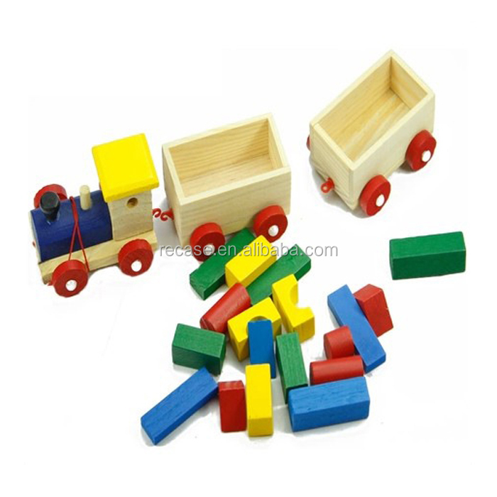 Train-Made Wood Block Pull Toy Montessori Materials Toys For Kid