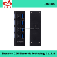 Plastic casing 4 port usb hub 3.0 with individual switches and led indicators