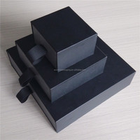 Three different size (L ,M ,S) slide drawer box for your choice to storage made of black leatherette paper