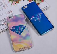 Stylish blue light Mirror Diamond Leopard skin Beauty Scenery Soft TPU Phone Back Cover Case for iPhone 6plus 6S plus 5.5''