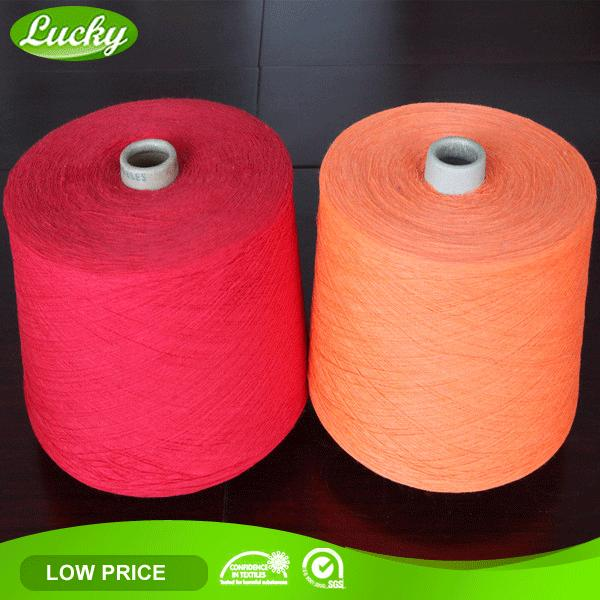 Recycled 100% cotton yarn for knitting and weaving, colored 100% cotton yarn