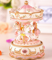 Christmas toys gift Electronic resin carousel horse music box