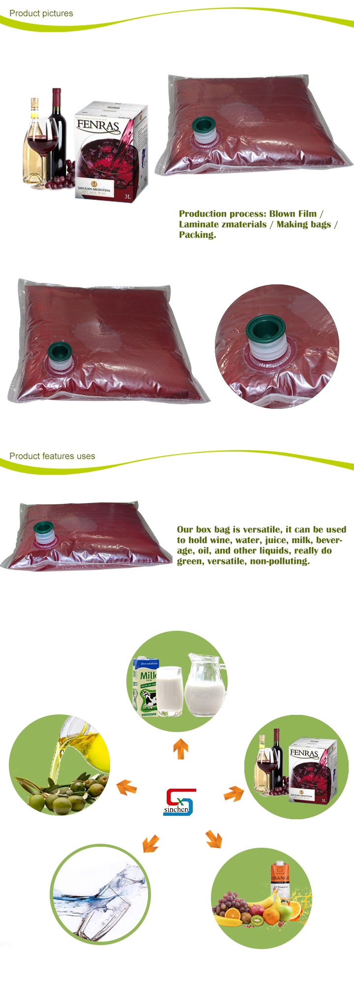 Green High quality wine bag in box with vitop valve