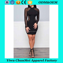 China Supplier 2017 new Style high Neck Transparent Ladies back hollow out Sexy Night Dress