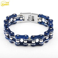 New Design Blue & Silver Color Stainless Steel Bike Chain Bracelet