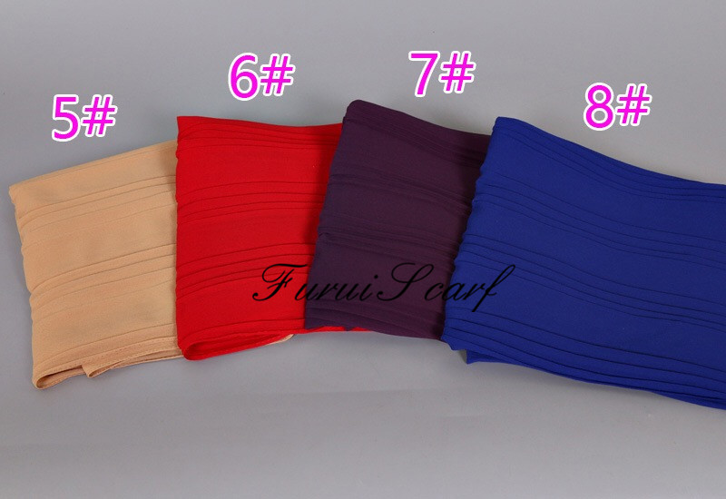 Plain Ripple Crumple Chiffon Scarf Wrinkle Nice Design Spring Summer Muslim Long Shawl 180*70 Cm