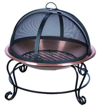 Outdoor Wood Burning Fire Pit with Dome Spark Screen