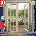PE45 series Aluminium double casement/swing/hinges/french door with Grid Decoration