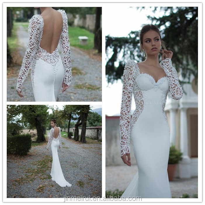 New Famous Designer Lace Long sleeve Mermaid two Pieces Bridal Gowns Satin Court Train Open Back Fishtail Wedding Dresses China
