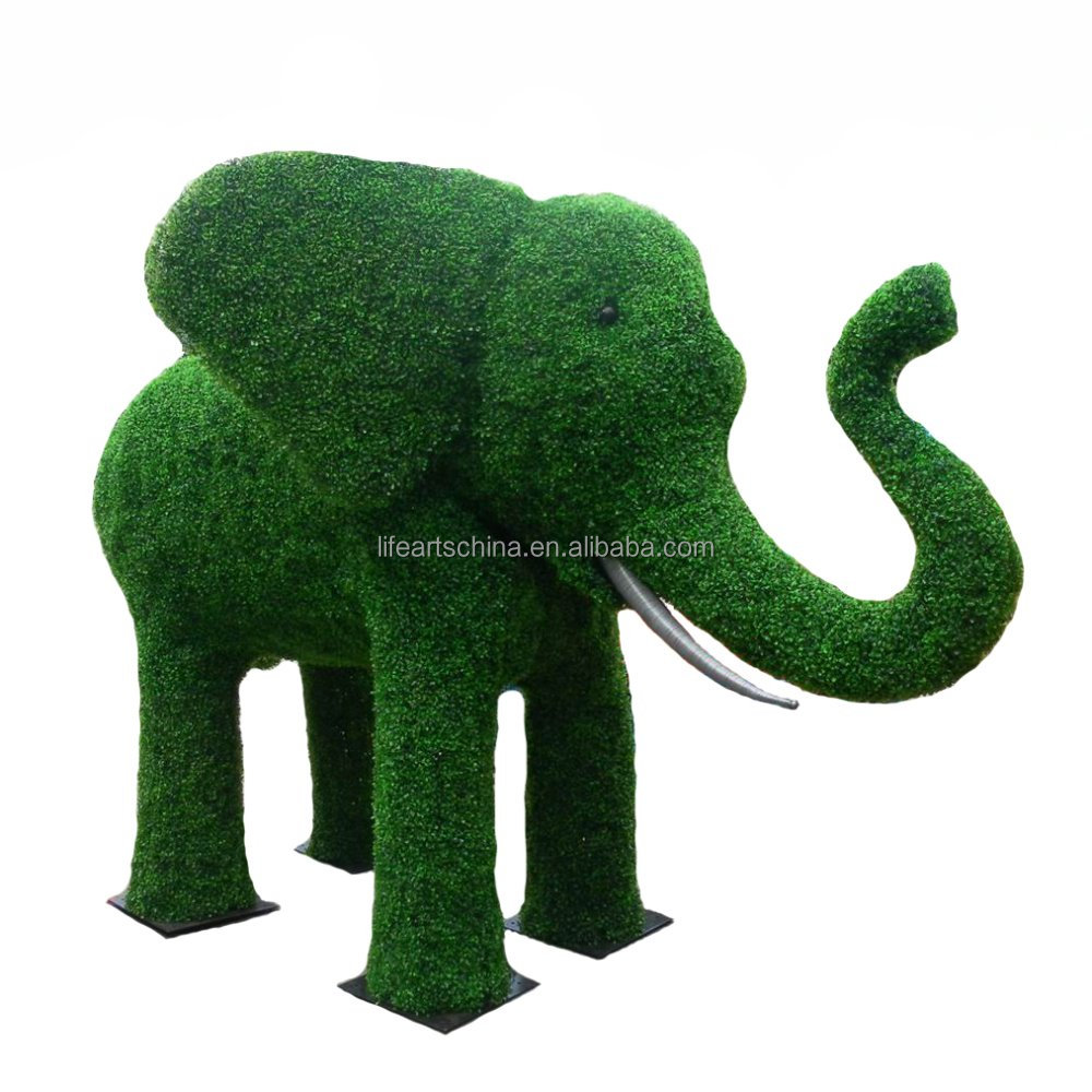 artificial boxwood elephant, fake animals, moss animals
