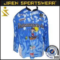 Custom made sublimation tournament long sleeve fishing clothing with hoodies fishing jersey
