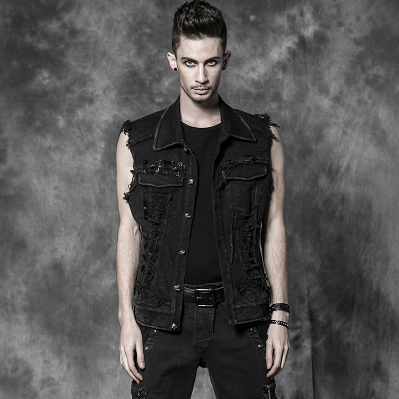 Y-507 cool black punk clothes gothic man denim waistcoats