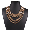 Occident Fashion Vintage Multi Layer Alloy Imitation Pearl Necklace Jewelry