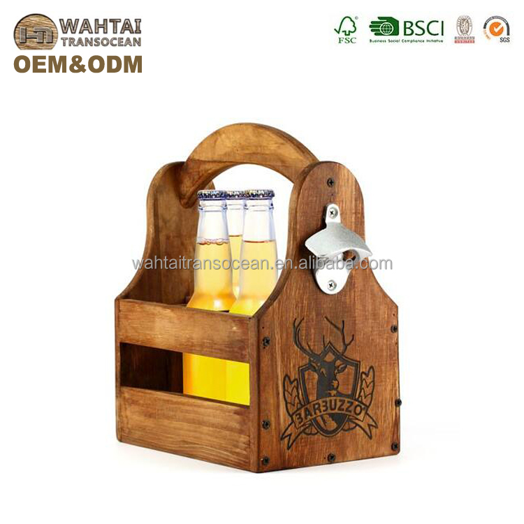 Wahtai Wood Beer Carrier And Condiment Caddy With Attached Bottle Opener