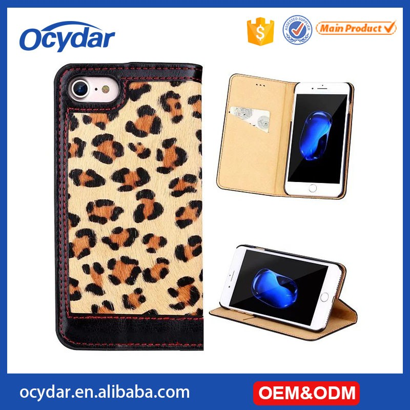 2017 High Quality Classic Fashion Leopard Pattern Leather Wallet Case for iPhone 7, for iPhone 7 Back Cover
