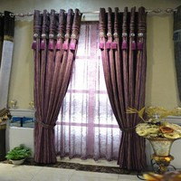 Jacquard Chenille Fabric Purple Linen Cotton Curtains In Shaoxing