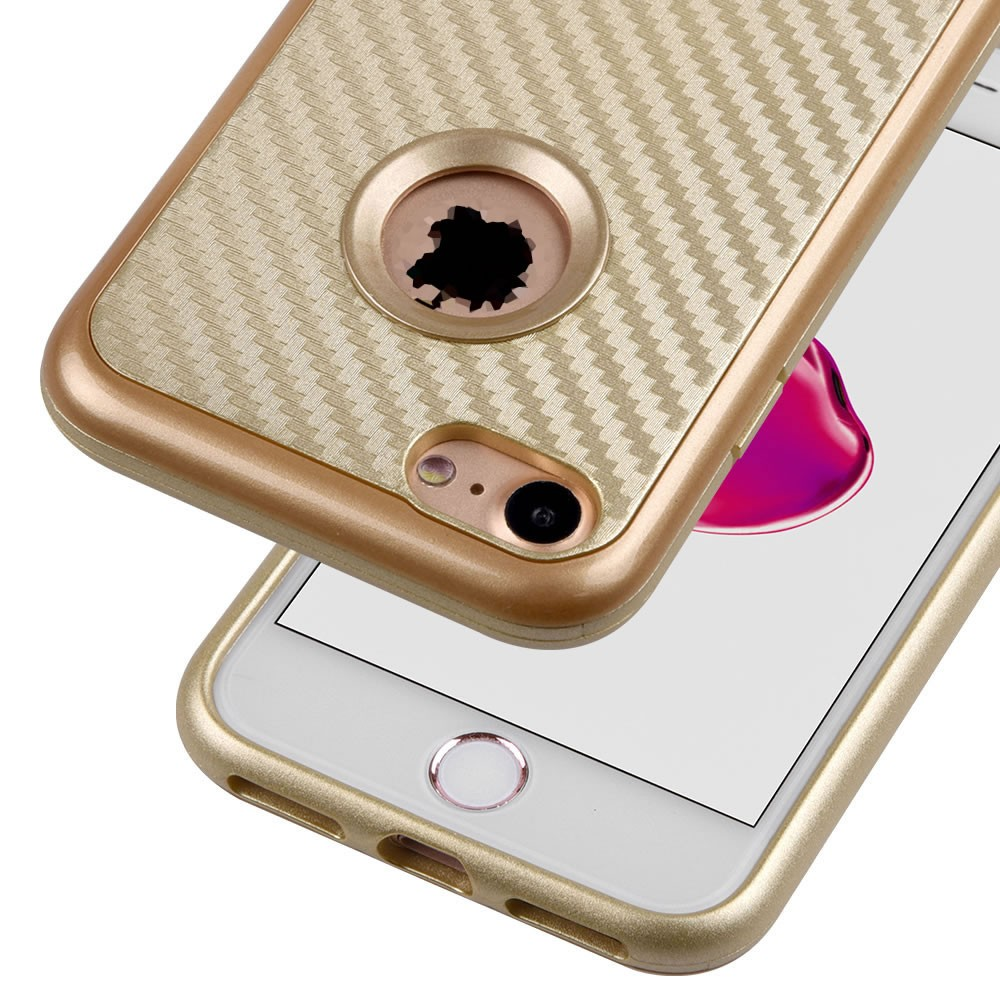 C&T Gold Dual Layer Leather Texture Flexible Soft TPU Cover Hard PC Frame Hybrid Case for Apple iPhone 7 4.7inch