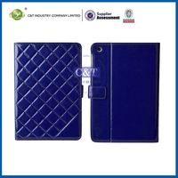 C&T Soft dark blue genuine leather wallet grid design stand for case ipad mini