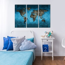 Hotel Wall decoration printed world map canvas art/giclee canvas prints