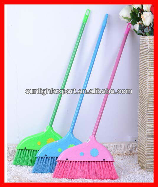 all colored durable plastic decorated broom for sale