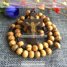 olive /pine wood beads cord cross rosary necklace, knot rosary with crucifix
