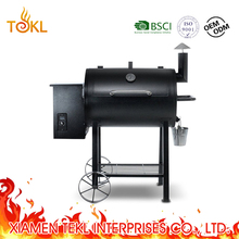 Barrel Pallet Smoker BBQ Pellet Smoker Electric Chicken Grill Machine with Rolling Cart for Outdoor Backyard