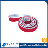 PU T10 timing belt with the red rubber coating / industrial belt T10 for machine made in China