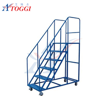 safety warehouse rolling step ladder with handrail