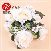 140830 Decorative Flowers & Wreaths Hotsale white roses wedding artificial white rose bouquet