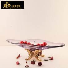 vp-1445 home decoration butterfly shaped arts fruit glass bowl