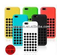 Newest and hottest colorful official polka dot hole color silicone case for iphone 5C