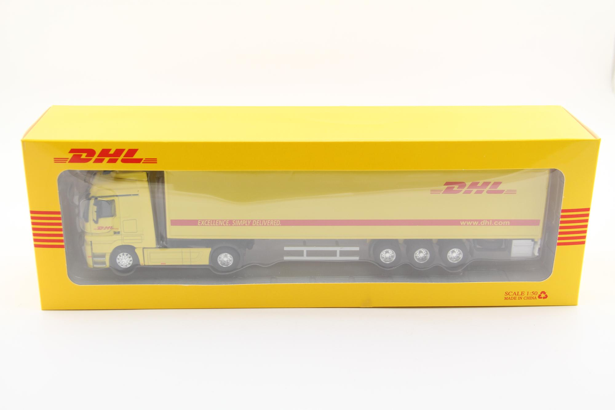 High simulation DHL truck model for brand marketing 34Lx5Wx8.5Hcm