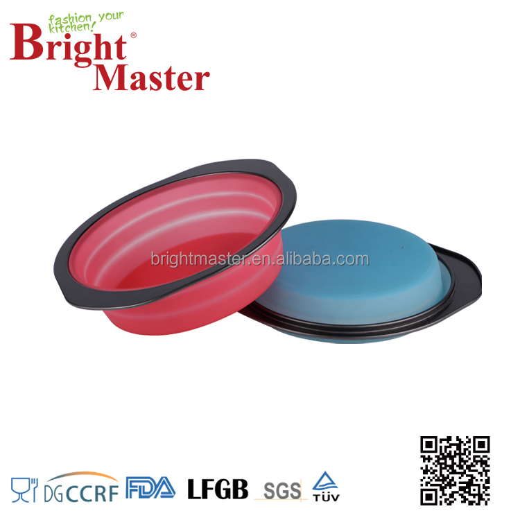 Silicone Bakeware with Carbon Steel Frame ,Foldable Round Cake Pan