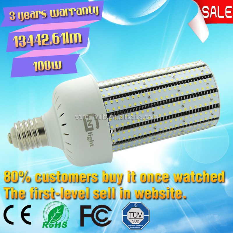 Retrofit 250W 400W Metal Halide fin warehouse Corn LED bulb 100W street light E39 E40